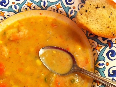 Shrimp and Corn Chowder with Bread