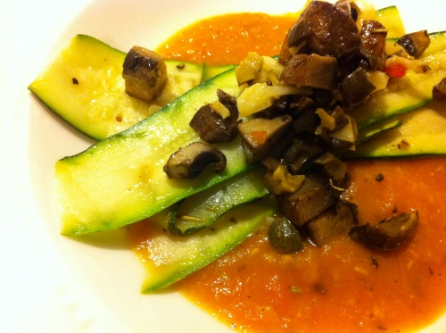 candle79, vegan zucchini recipe, vegan mushroom recipe, fresh tomato sauce